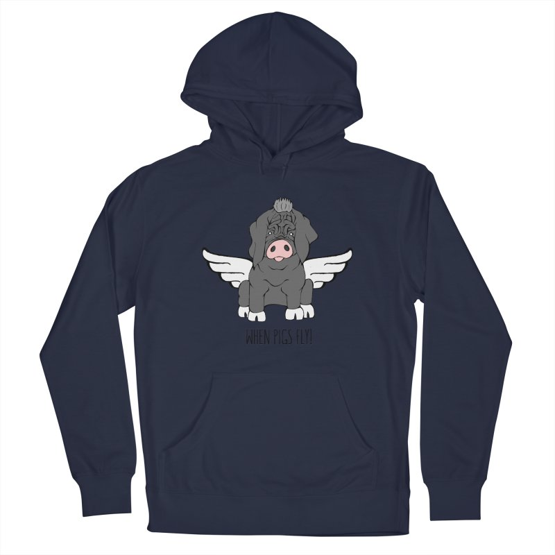 When Pigs Fly - Meishan Women's French Terry Pullover Hoody by Angry Squirrel Studio