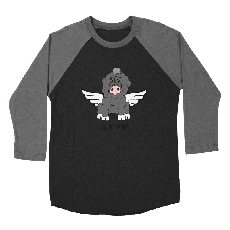 When Pigs Fly - Meishan Men's Baseball Triblend Longsleeve T-Shirt by Angry Squirrel Studio