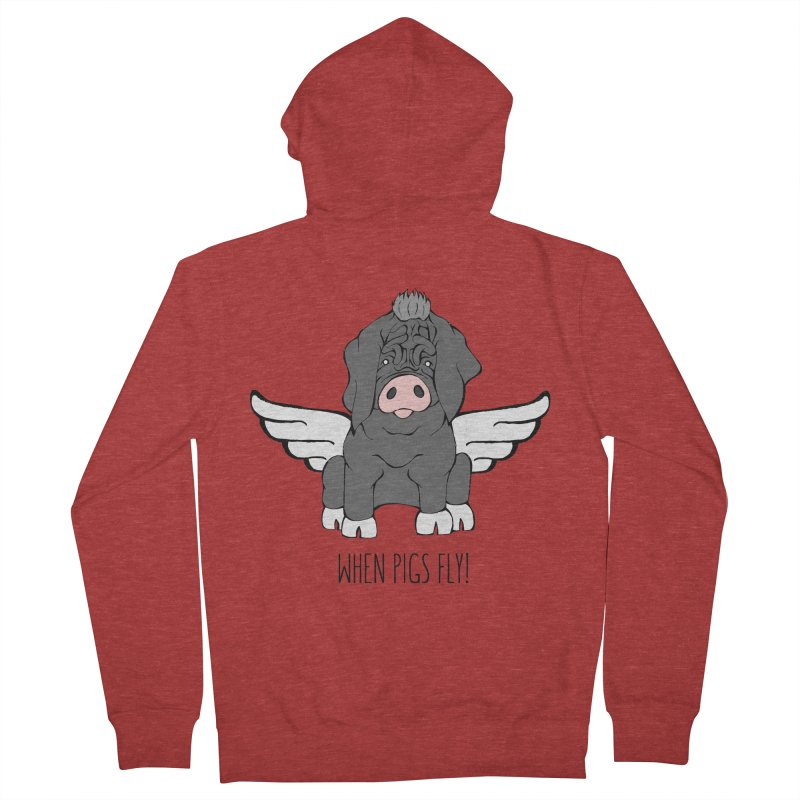 When Pigs Fly - Meishan Women's Zip-Up Hoody by Angry Squirrel Studio