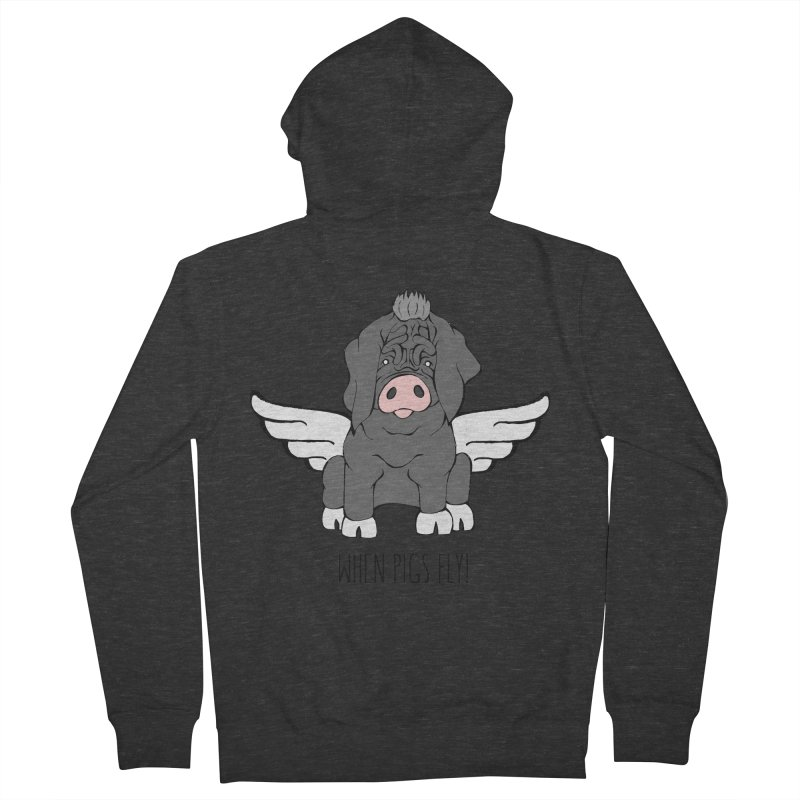 When Pigs Fly - Meishan Men's French Terry Zip-Up Hoody by Angry Squirrel Studio