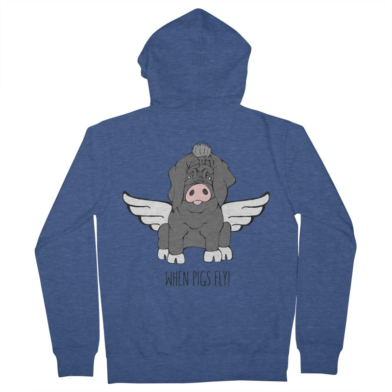 When Pigs Fly - Meishan Men's Zip-Up Hoody by Angry Squirrel Studio