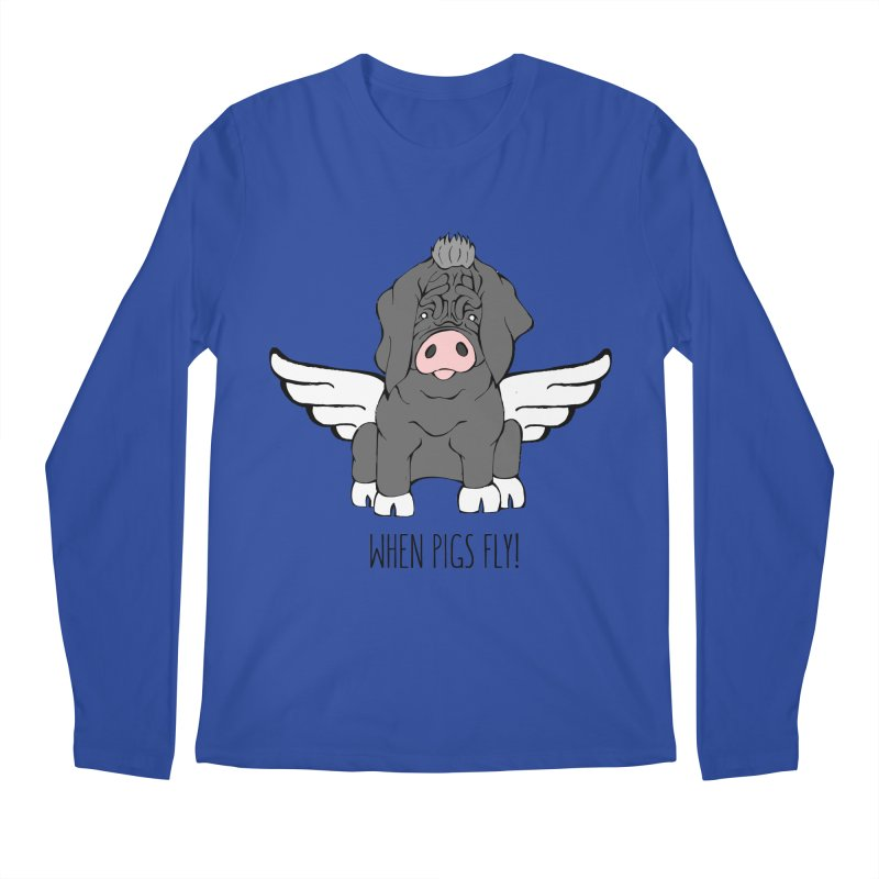 When Pigs Fly - Meishan Men's Regular Longsleeve T-Shirt by Angry Squirrel Studio