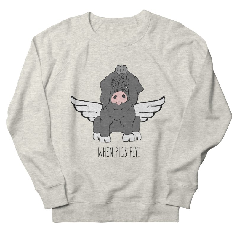 When Pigs Fly - Meishan Women's French Terry Sweatshirt by Angry Squirrel Studio