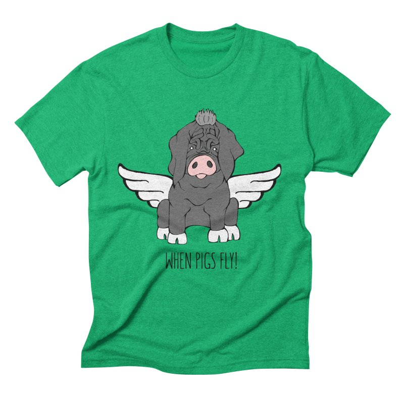 When Pigs Fly - Meishan Men's Triblend T-shirt by Angry Squirrel Studio