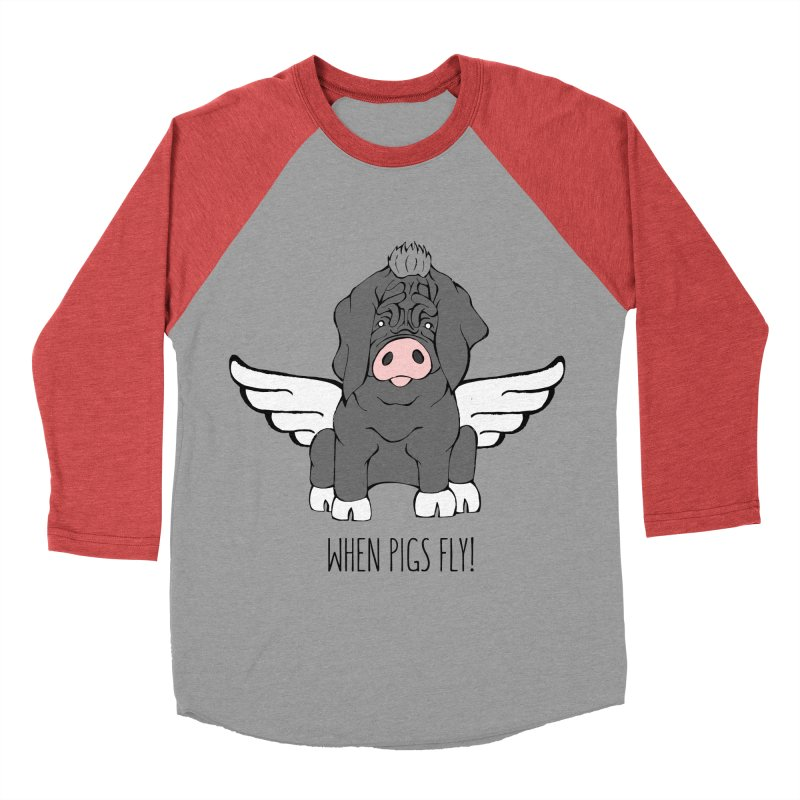 When Pigs Fly - Meishan Women's Baseball Triblend T-Shirt by Angry Squirrel Studio