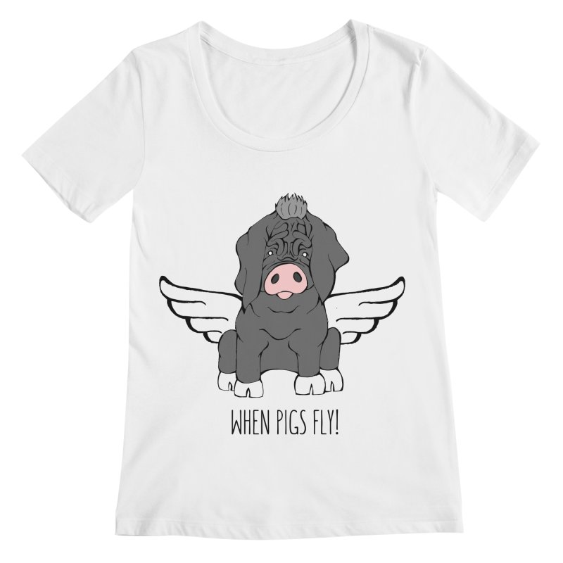 When Pigs Fly - Meishan Women's Scoopneck by Angry Squirrel Studio
