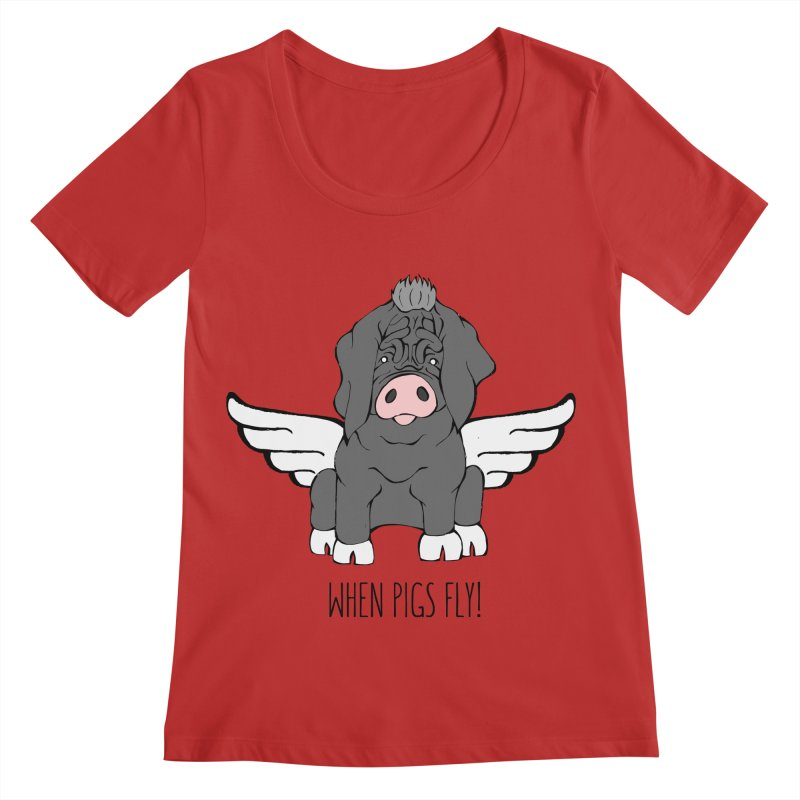 When Pigs Fly - Meishan Women's Regular Scoop Neck by Angry Squirrel Studio