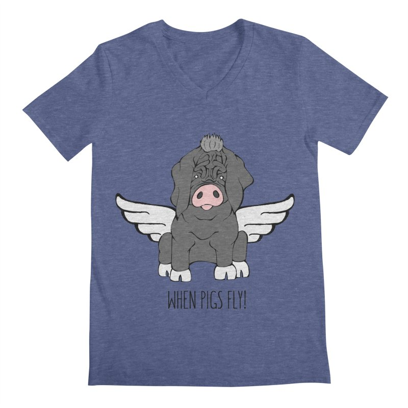 When Pigs Fly - Meishan Men's Regular V-Neck by Angry Squirrel Studio