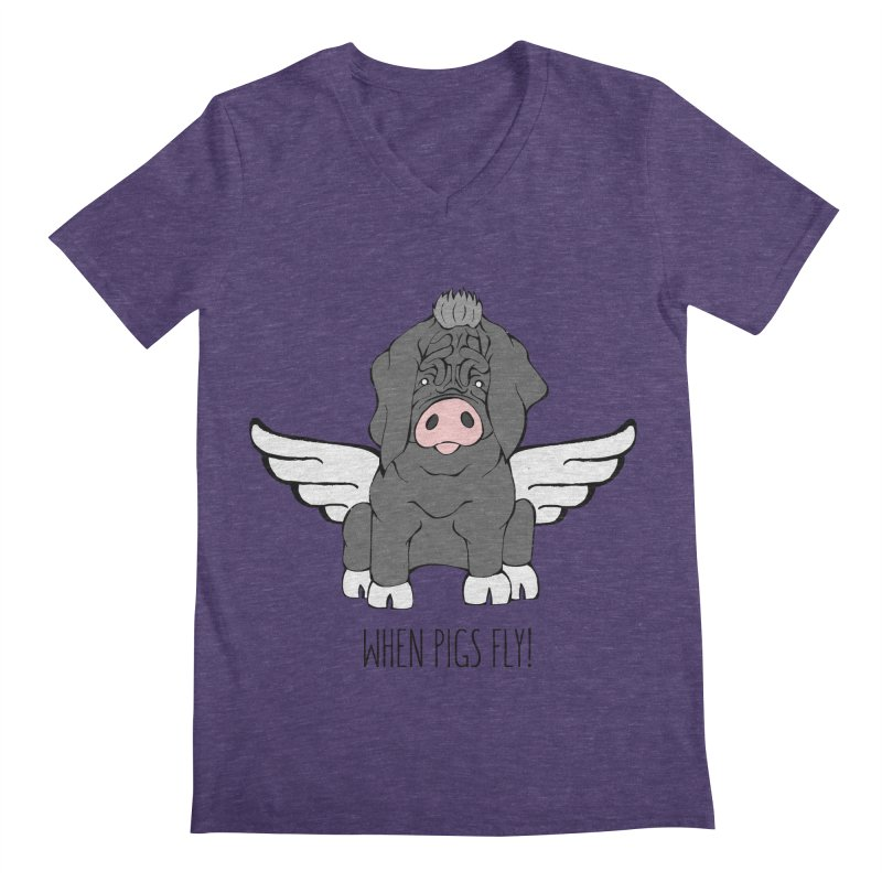 When Pigs Fly - Meishan Men's V-Neck by Angry Squirrel Studio