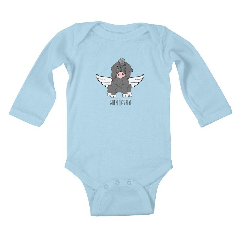 When Pigs Fly - Meishan Kids Baby Longsleeve Bodysuit by Angry Squirrel Studio