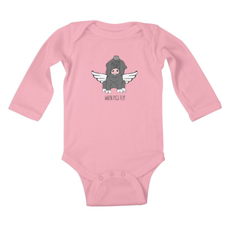 When Pigs Fly - Meishan Kids Baby Longsleeve Bodysuit by Angry Squirrel Studio