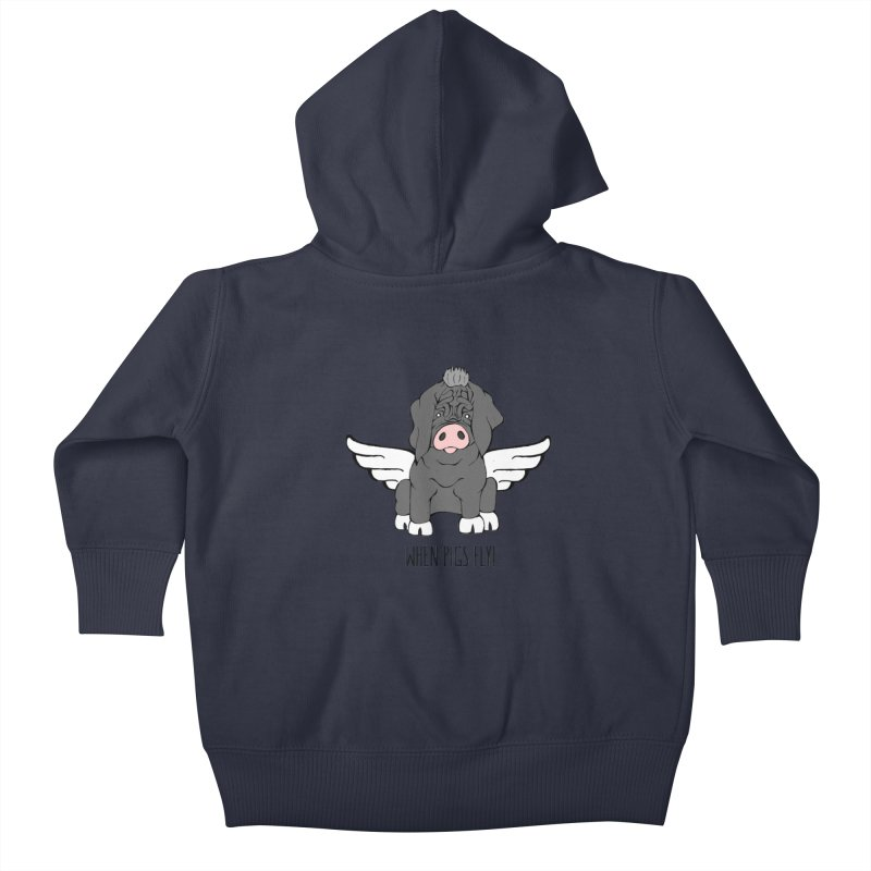 When Pigs Fly - Meishan Kids Baby Zip-Up Hoody by Angry Squirrel Studio