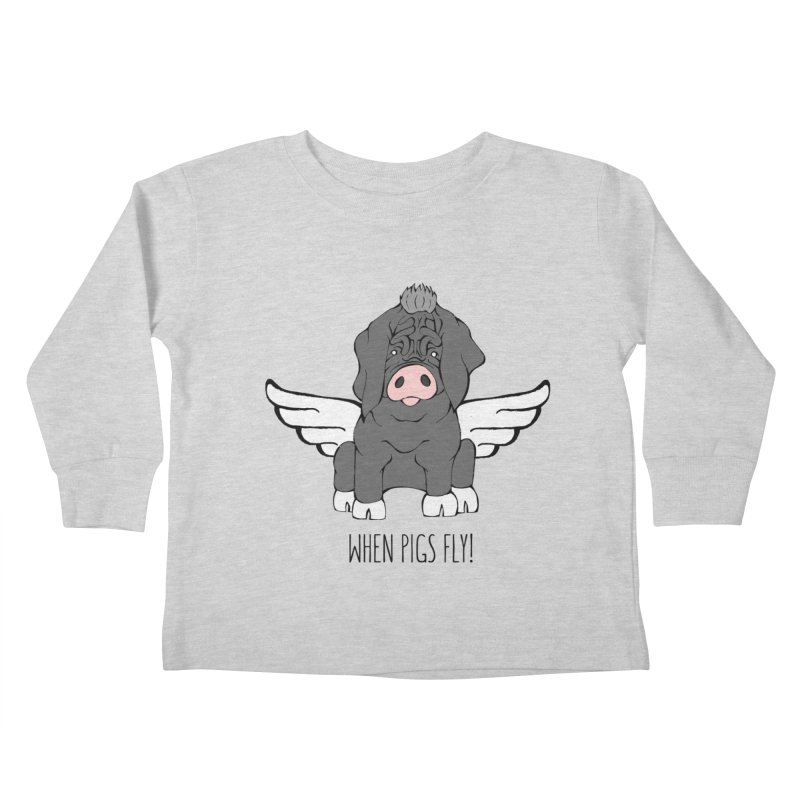 When Pigs Fly - Meishan Kids Toddler Longsleeve T-Shirt by Angry Squirrel Studio