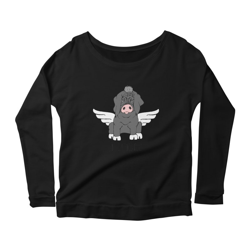 When Pigs Fly - Meishan Women's Scoop Neck Longsleeve T-Shirt by Angry Squirrel Studio