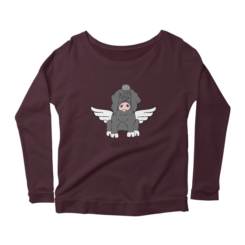 When Pigs Fly - Meishan Women's Longsleeve Scoopneck  by Angry Squirrel Studio