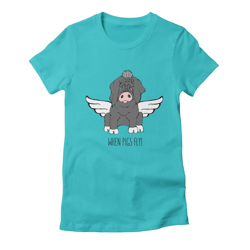 When Pigs Fly - Meishan Women's Fitted T-Shirt by Angry Squirrel Studio