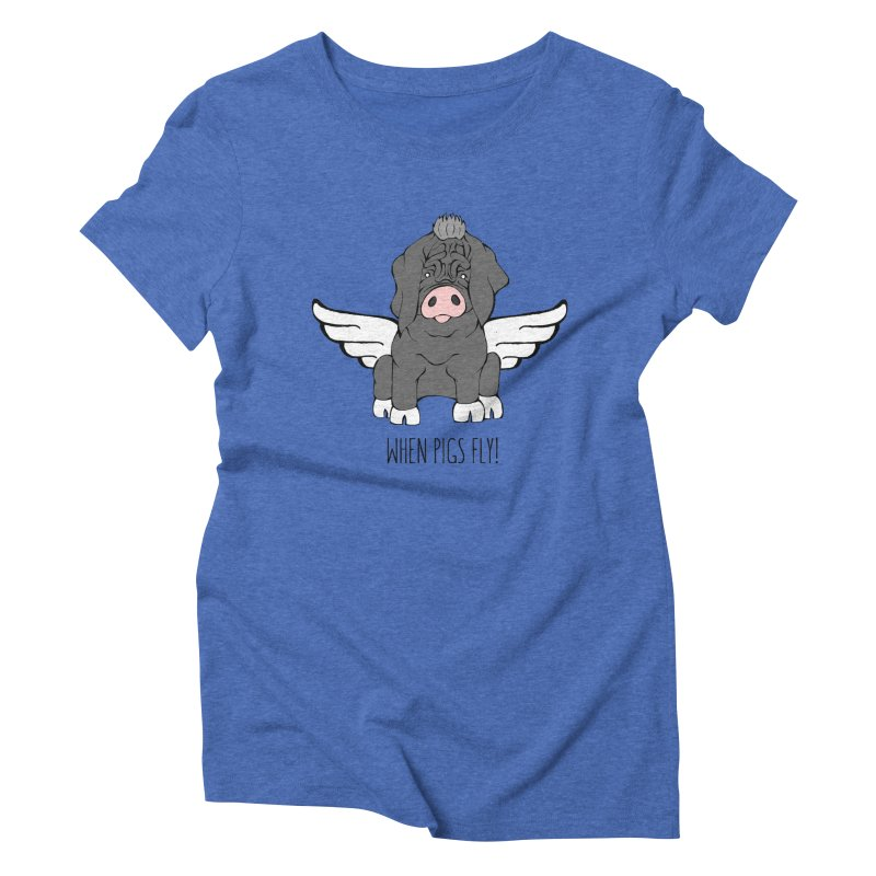When Pigs Fly - Meishan Women's Triblend T-Shirt by Angry Squirrel Studio