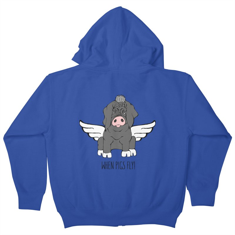 When Pigs Fly - Meishan Kids Zip-Up Hoody by Angry Squirrel Studio