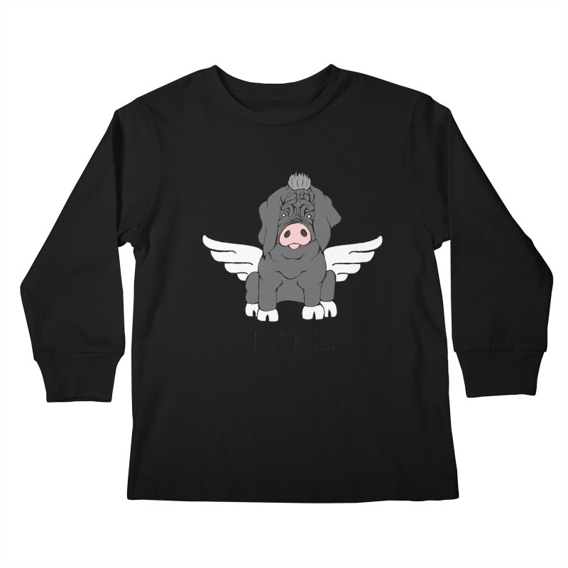 When Pigs Fly - Meishan Kids Longsleeve T-Shirt by Angry Squirrel Studio