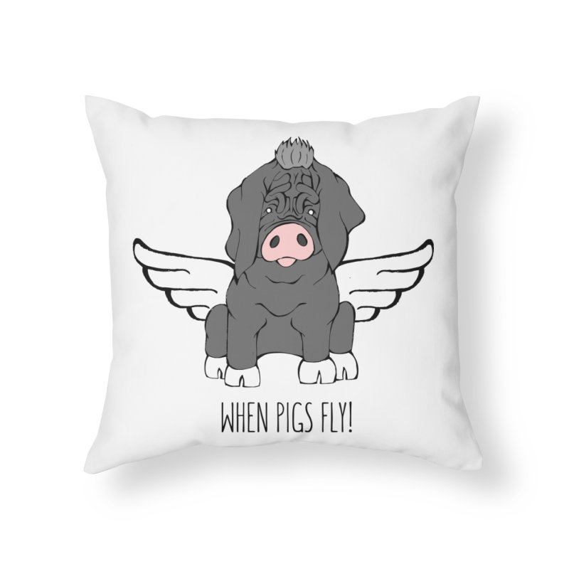 When Pigs Fly - Meishan Home Throw Pillow by Angry Squirrel Studio