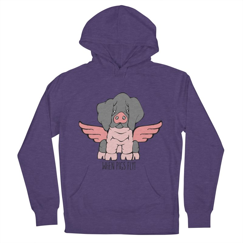 When Pigs Fly: Basque Men's French Terry Pullover Hoody by Angry Squirrel Studio