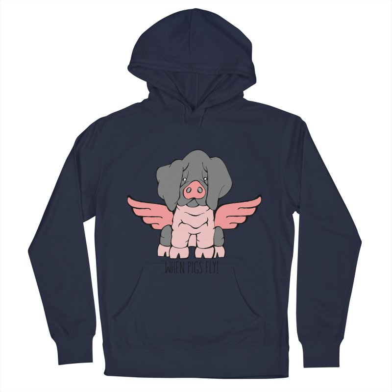 When Pigs Fly: Basque Men's Pullover Hoody by Angry Squirrel Studio