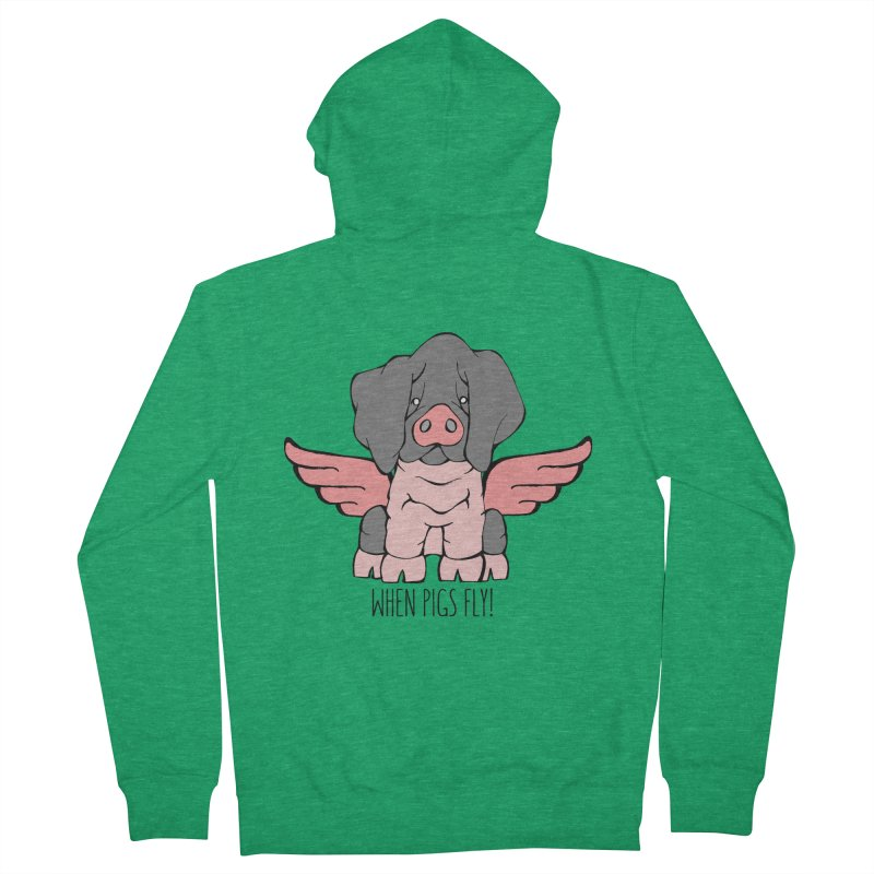 When Pigs Fly: Basque Men's French Terry Zip-Up Hoody by Angry Squirrel Studio