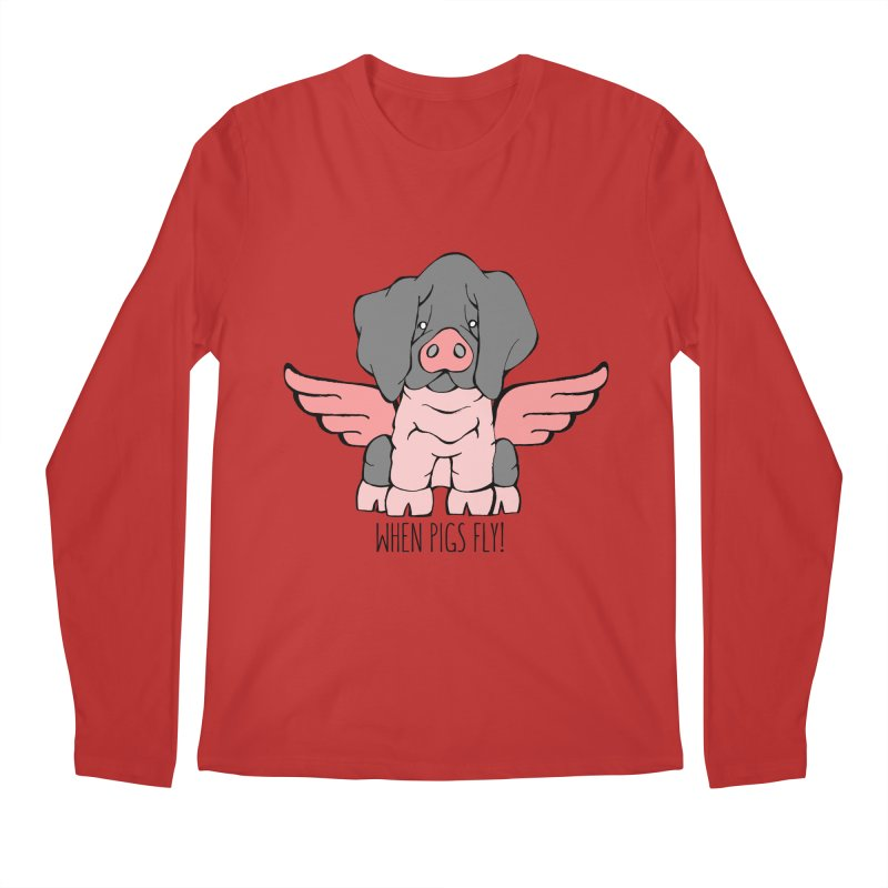 When Pigs Fly: Basque Men's Longsleeve T-Shirt by Angry Squirrel Studio