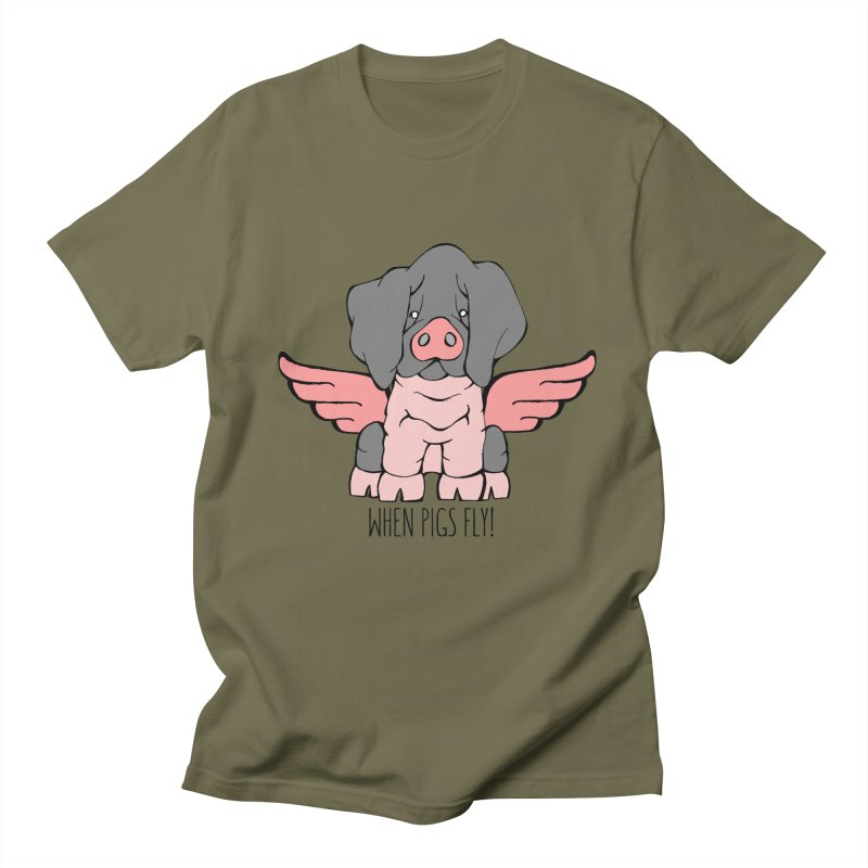 When Pigs Fly: Basque Men's Regular T-Shirt by Angry Squirrel Studio