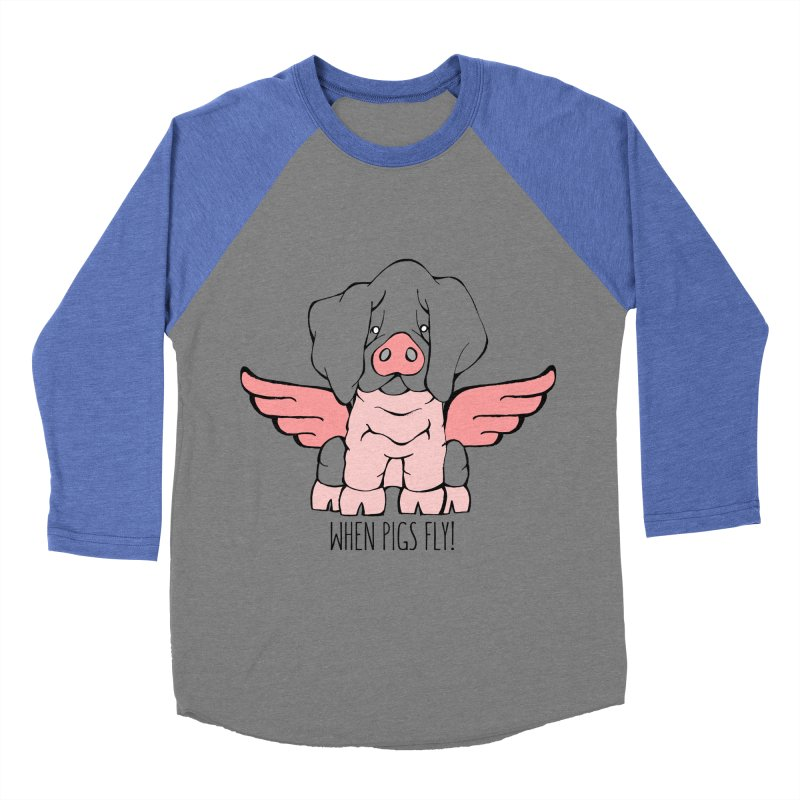 When Pigs Fly: Basque Men's Baseball Triblend Longsleeve T-Shirt by Angry Squirrel Studio