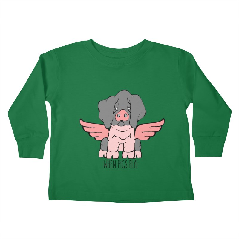 When Pigs Fly: Basque Kids Toddler Longsleeve T-Shirt by Angry Squirrel Studio