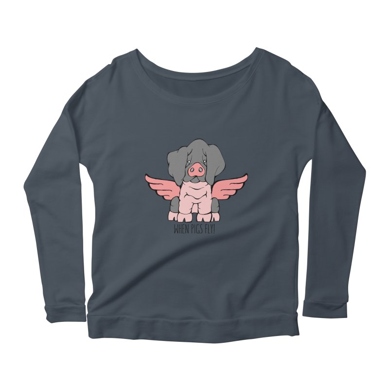 When Pigs Fly: Basque Women's Longsleeve Scoopneck  by Angry Squirrel Studio