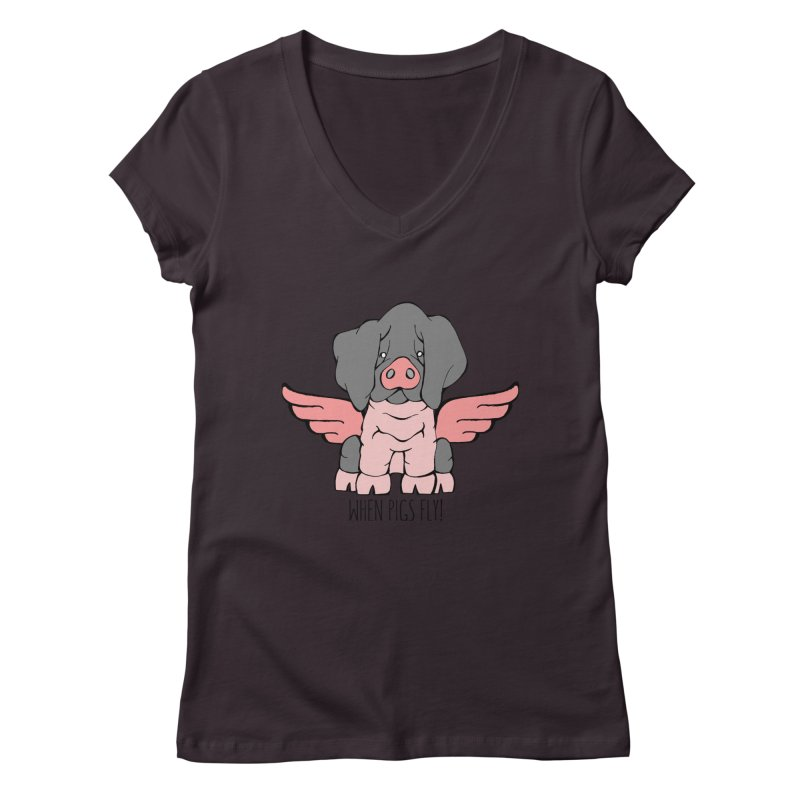 When Pigs Fly: Basque Women's V-Neck by Angry Squirrel Studio