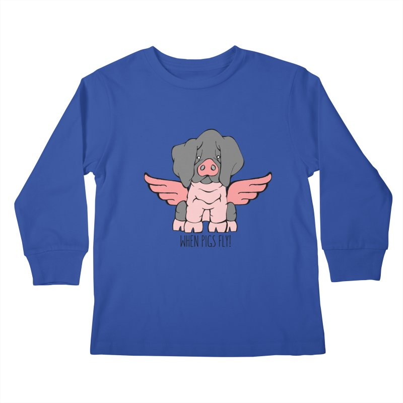 When Pigs Fly: Basque Kids Longsleeve T-Shirt by Angry Squirrel Studio