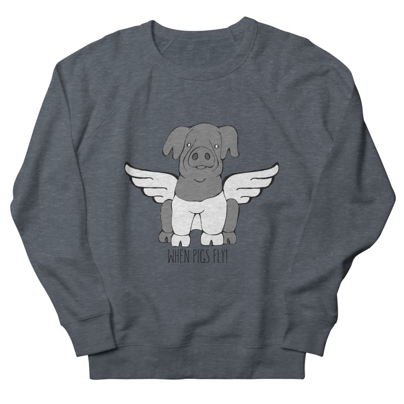 When Pigs Fly: Cinta Senese Women's French Terry Sweatshirt by Angry Squirrel Studio