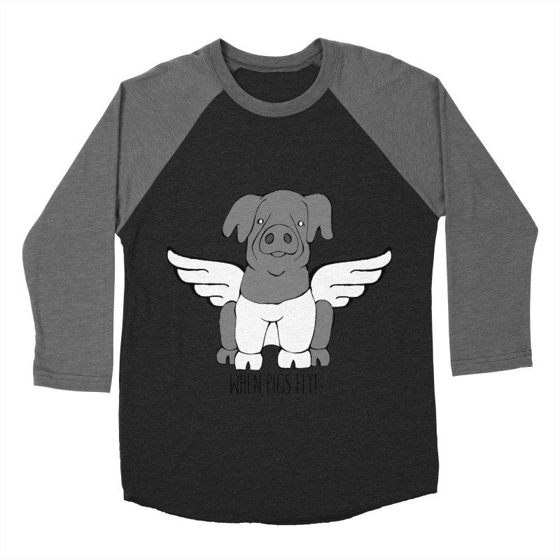 When Pigs Fly: Cinta Senese Men's Baseball Triblend Longsleeve T-Shirt by Angry Squirrel Studio