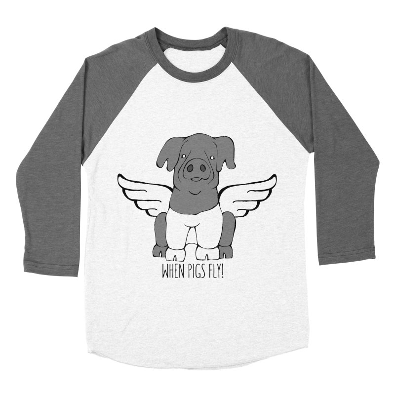 When Pigs Fly: Cinta Senese Men's Baseball Triblend Longsleeve T-Shirt by Angry Squirrel Studio