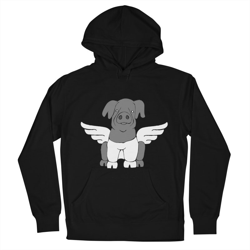 When Pigs Fly: Cinta Senese Men's French Terry Pullover Hoody by Angry Squirrel Studio