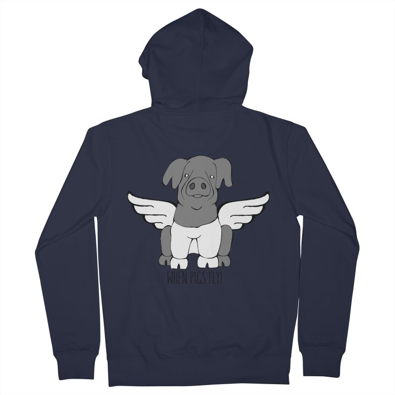 When Pigs Fly: Cinta Senese Men's French Terry Zip-Up Hoody by Angry Squirrel Studio