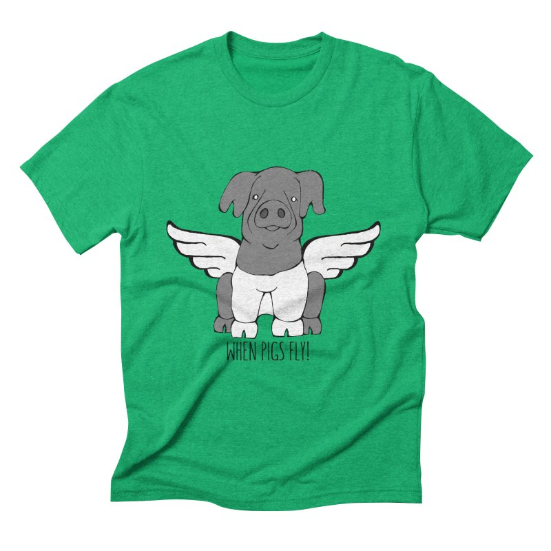 When Pigs Fly: Cinta Senese Men's Triblend T-shirt by Angry Squirrel Studio