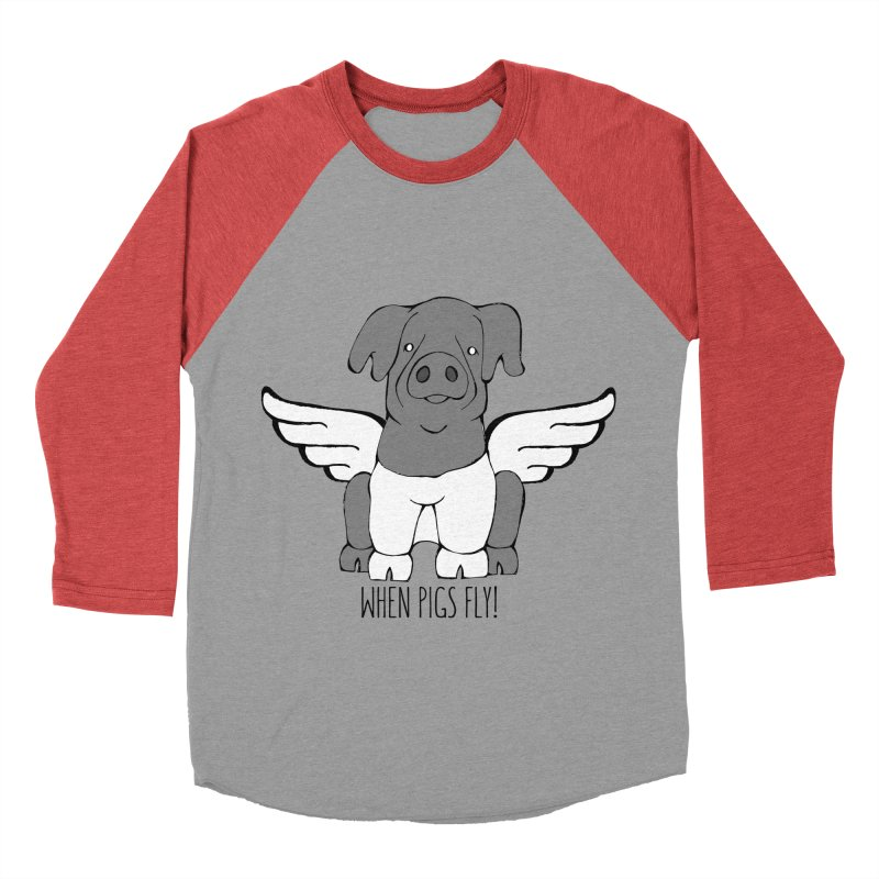 When Pigs Fly: Cinta Senese Women's Baseball Triblend T-Shirt by Angry Squirrel Studio