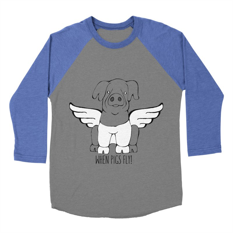 When Pigs Fly: Cinta Senese Men's Baseball Triblend T-Shirt by Angry Squirrel Studio