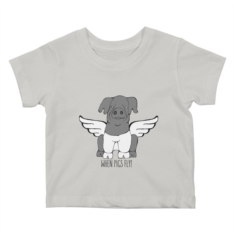 When Pigs Fly: Cinta Senese Kids Baby T-Shirt by Angry Squirrel Studio