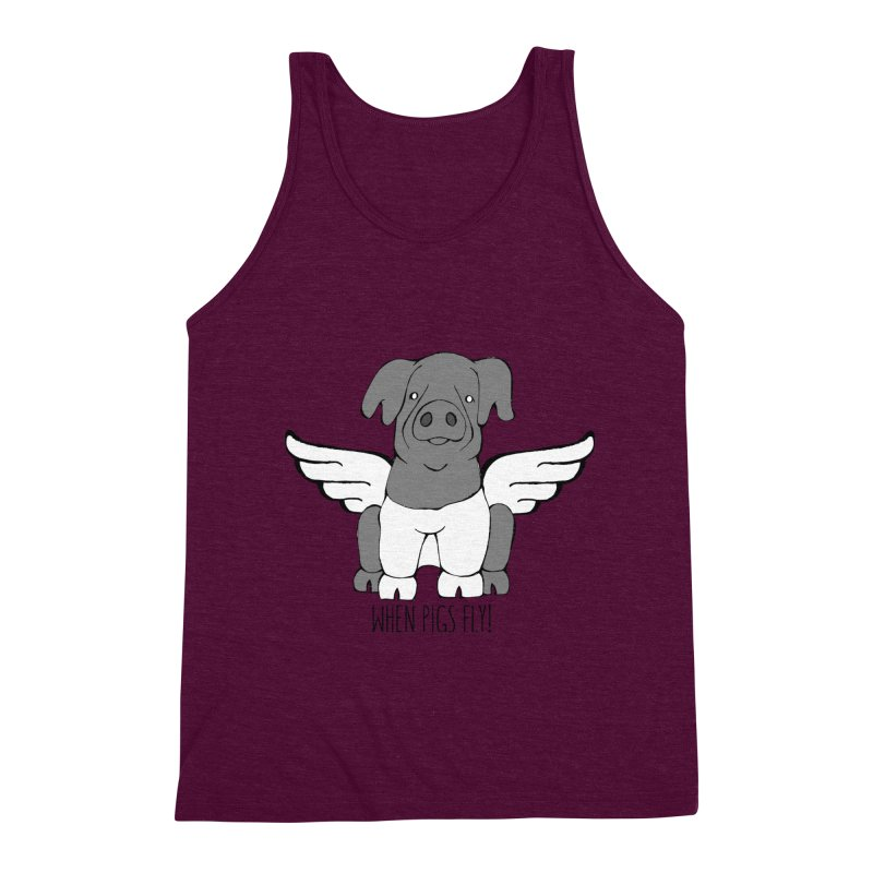 When Pigs Fly: Cinta Senese Men's Triblend Tank by Angry Squirrel Studio
