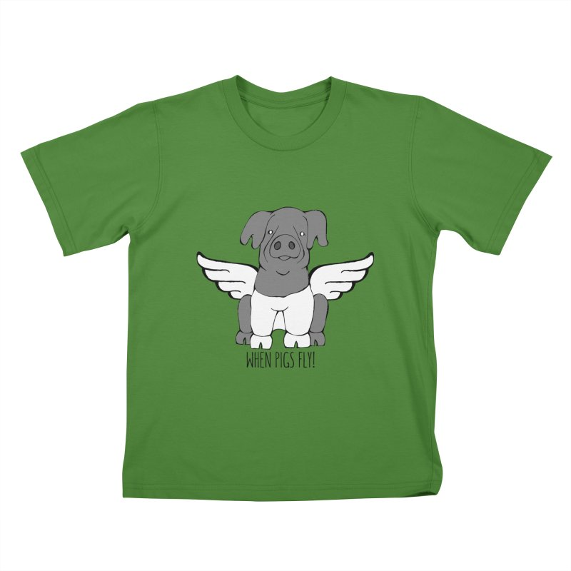 When Pigs Fly: Cinta Senese Kids T-shirt by Angry Squirrel Studio