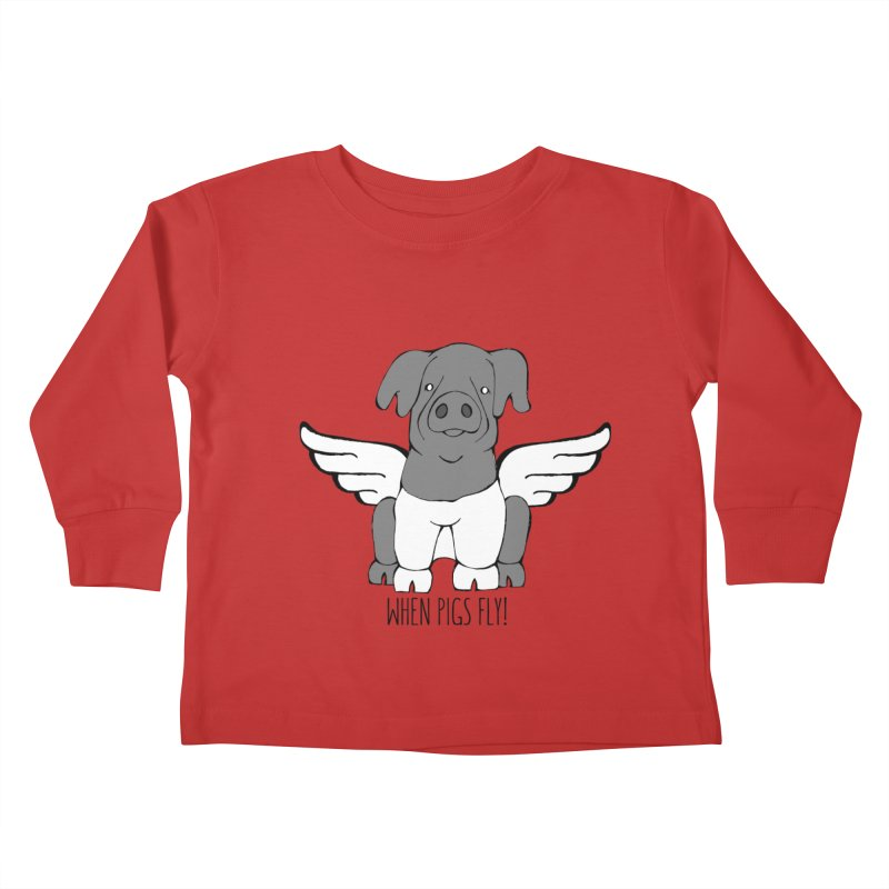 When Pigs Fly: Cinta Senese Kids Toddler Longsleeve T-Shirt by Angry Squirrel Studio