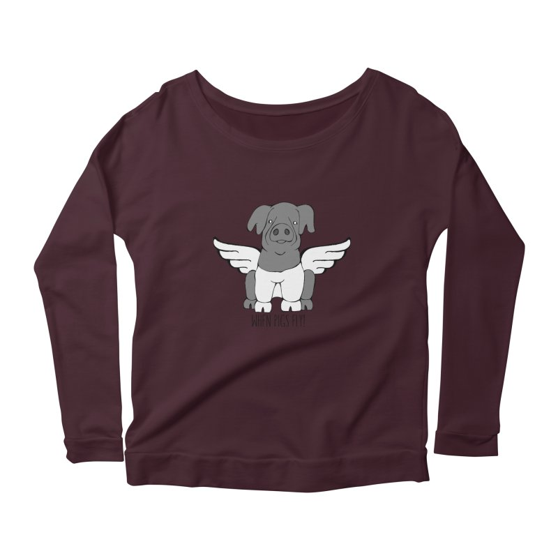 When Pigs Fly: Cinta Senese Women's Scoop Neck Longsleeve T-Shirt by Angry Squirrel Studio