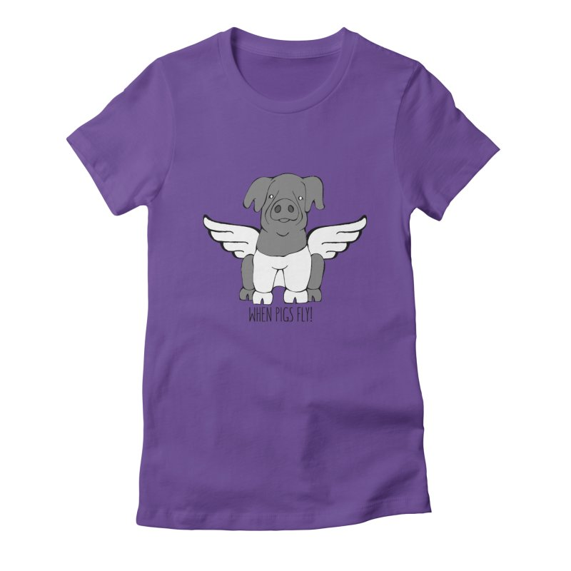 When Pigs Fly: Cinta Senese Women's Fitted T-Shirt by Angry Squirrel Studio