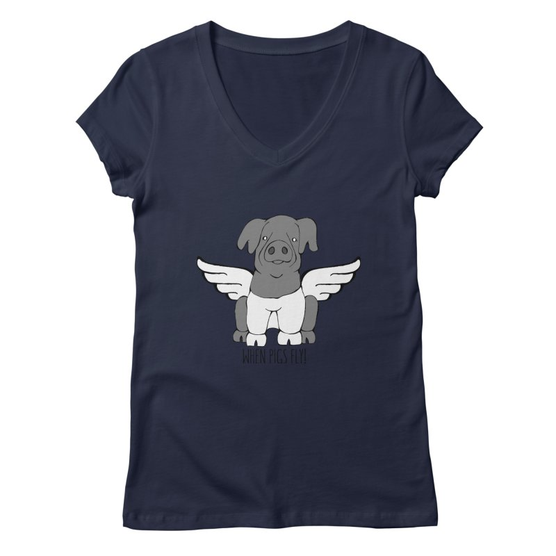 When Pigs Fly: Cinta Senese Women's Regular V-Neck by Angry Squirrel Studio