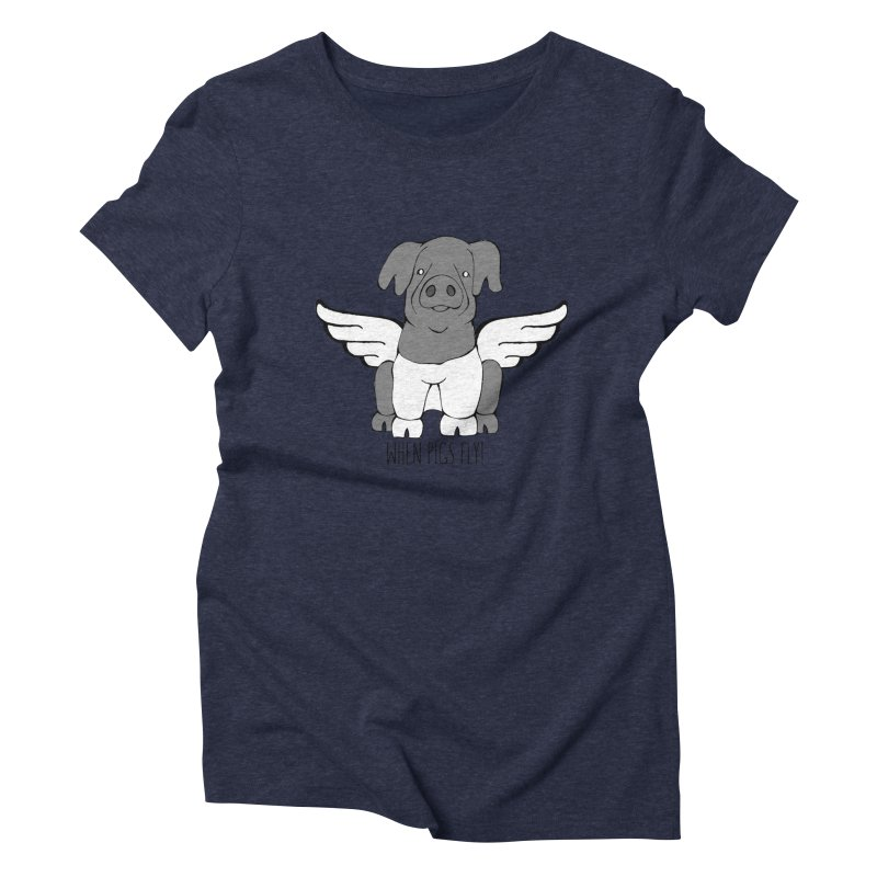 When Pigs Fly: Cinta Senese Women's Triblend T-Shirt by Angry Squirrel Studio